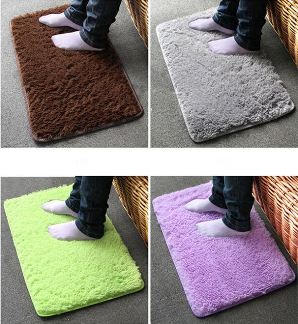 Thicken Silky Fluffy Anti-Skid Shaggy Rug Dining Room Carpet Bedroom Floor Mat