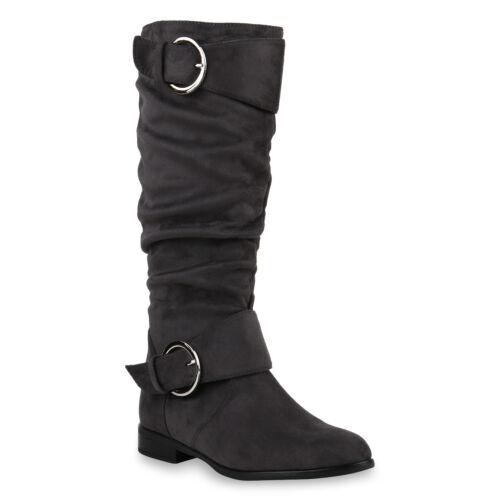 Schuhe Klassische Damen Stiefel Wildleder-Optik Boots 817770 Top
