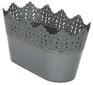 Medium-27cm-Long-Garden-Oval-Planter-Indoor-Outdoor-Silver-Grey-Plant-Pot