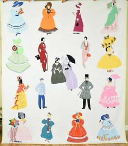 MAGNIFICENT Vintage Fancy Ladies Courtship Antique Quilt ~AMAZING DETAIL!