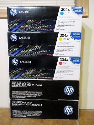 NEW HP 304A SET OEM CF340A CC530A CC531A CC532A CC533A OEM Genuine TRI Black