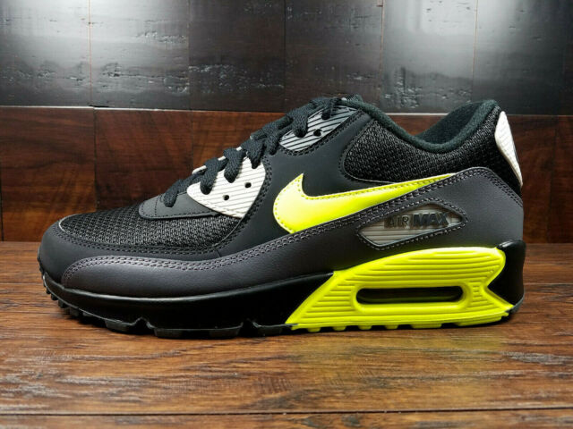 Details about Men's Nike Air Max 90 Essential Running Shoes Dark GreyVoltBlackLight Bone