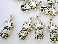 20 Princess W/crown Silver Plated Girl Charm/baby/jewelry/scrapbooking/tag K27