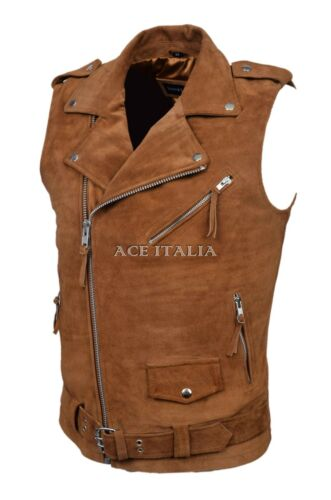 Men/'s Brando Tan Suede Motorcycle Biker Steam Punk Real Leather Waistcoat 1025