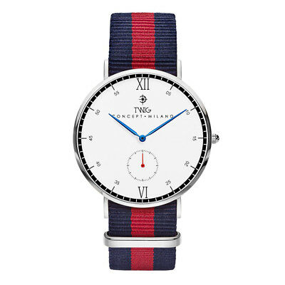 Reloj hombre/mujer TWIG KIPLING plata/blanco clásico militar minimal
