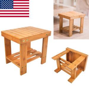 Kids Bench Stool Bamboo Foot Bathroom Shower Seat Corner