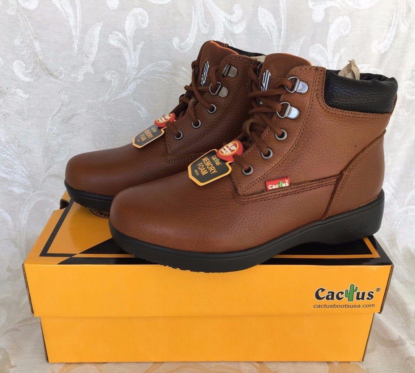 Cactus Women's 6  LS60 Light Brown Slip-Resistant Boots Memory Foam Insole Work