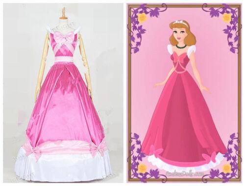 Cinderella Cosplay Costume Princess Cinderella Dress Pink Sleeveless Ball Gown//L