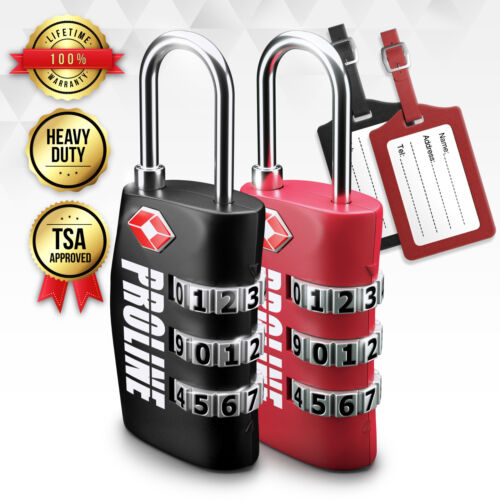 TSA Travel 3-Digit Combination Lock with Tag TSA Approved Luggage Lock 2 Pack
