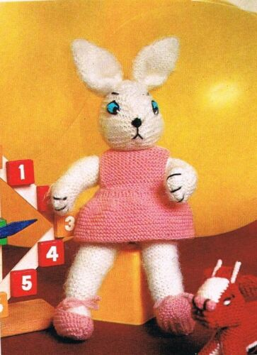"""rabbit Easter gift. KNITTING PATTERN  DK EASTER BUNNY DOLL 15/"""" baby toy"""