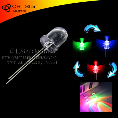 500pcs Water Clear LED 10mm RGB Fast flashing Flash Automatically LED Diodes