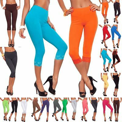 Womens 3//4 Length Leggings Capri Floral Lace Cropped Trim Edge Jeggings Pants