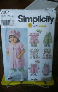 Oop-Simplicity-7201-6-made-easy-toddlers-dress-bloomers-beret-sz-6m-4-NEW