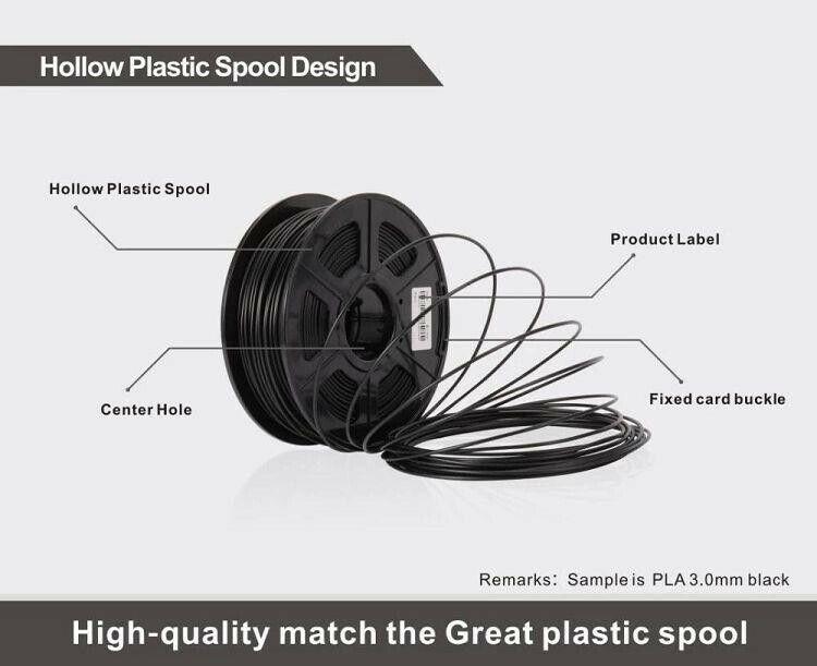 High quality Carbon Fiber PLA 3D Printer Filament 1.75mm (Black)