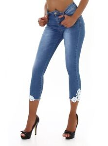 Jeans Denim High Waist Ladies Skinny 7/8 Jeans Trousers With