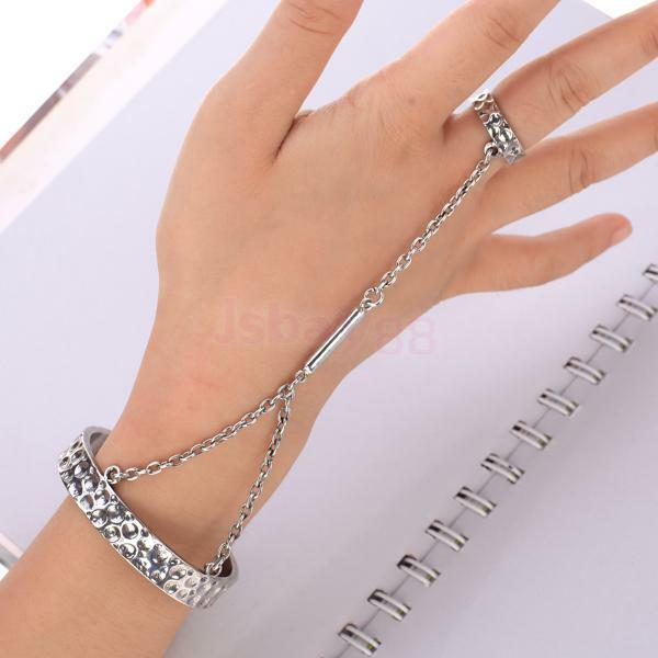 Vintage Silver Gothic Punk Hammered Open Cuff Slave Chain Bangle Ring Bracelet