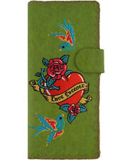 ★ LAVISHY Wallet LOVE FOREVER BIRD HEART Vegan Leather Embroidery TATTOO GREEN