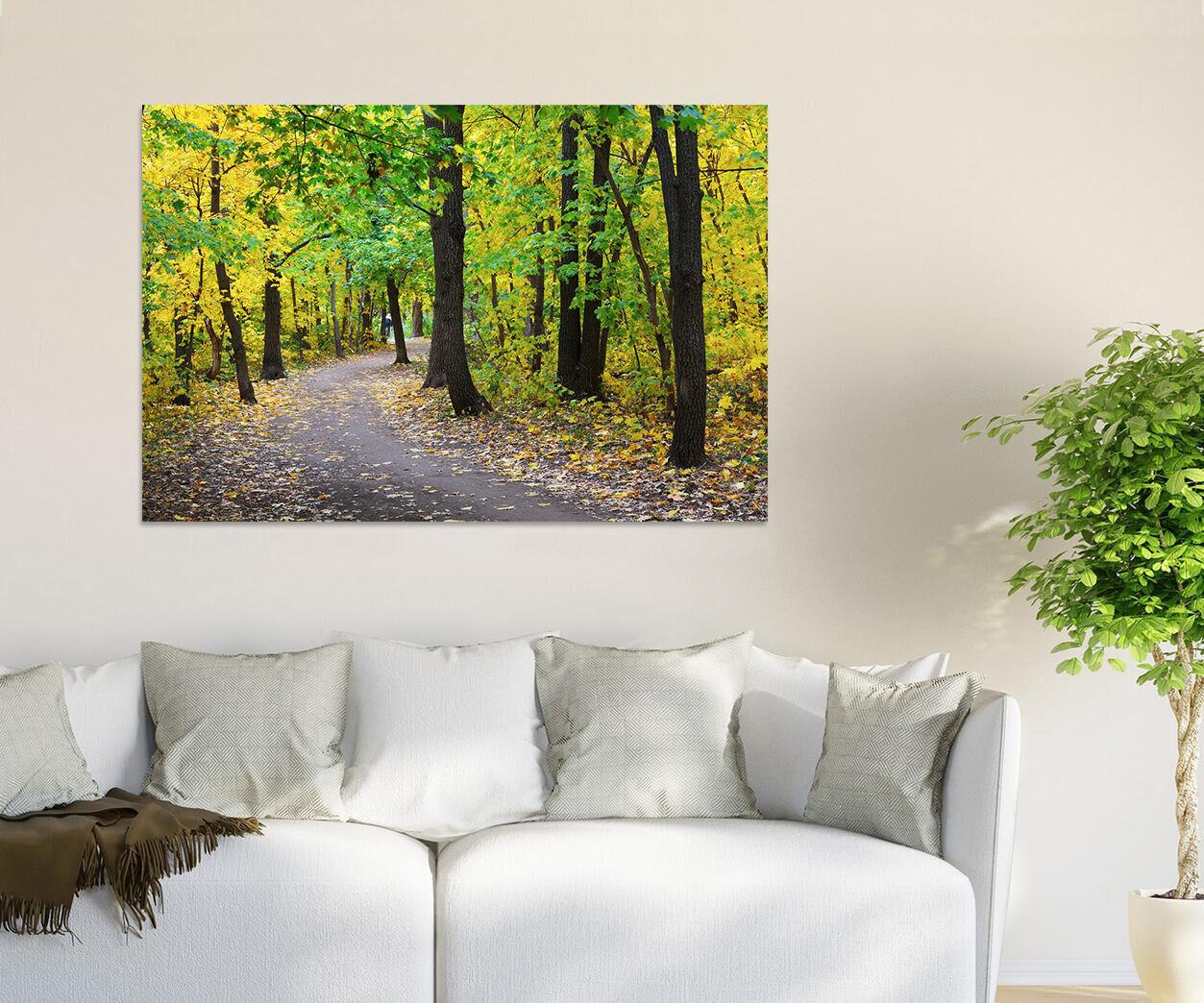3D Herbst Laub Wlder Weg 8556  Fototapeten Wandbild BildTapete AJSTORE DE Lemon