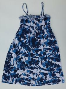 Aeropostale-Dress-Womens-XS-Blue-White-Floral-Knit-Removable-Straps-Good-Shape