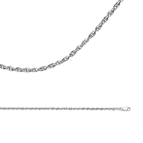 Cable Chain Solid 14k White Gold Necklace Double Link Rope Hollow 2.7 mm