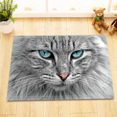 "15X23/"" blue eyes cat Kitchen Bathroom Floor Non-Slip Bath Mat Rug Carpet"