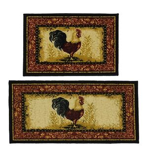 Details about Throw Rugs Set Rooster Chicken Country Kitchen Decor Area  Floor Mat Scatter Lot
