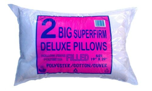 PILLOWS Deluxe Pair-2Big Superfirm Hollow-fiber Polyester Quilted Filled Pillows
