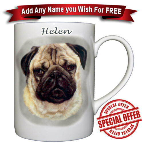 Fine Bone China Mug Pug Personalized with any name added free