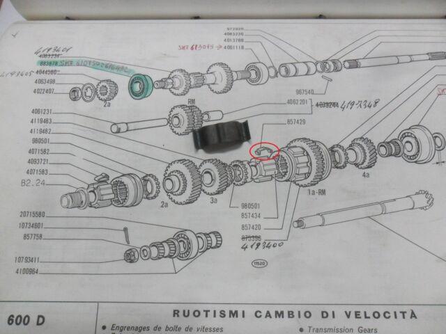 MOLLETTE MANICOTTO 1°/RM° CAMBIO FIAT 600 D E FIAT 857429 ORIGINALE