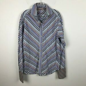 Robert-Graham-Shirt-Size-L-Striped-Chevron-Blue-Red-Long-Sleeve-French-Cuff