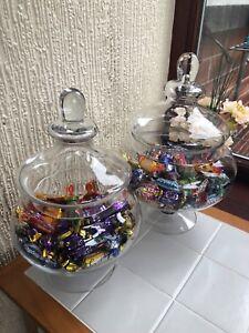 TRADITIONAL-VINTAGE-SQUAT-WEDDING-PARTY-FOOTED-JAR-GLASS-BONBON-SWEET-JAR-NEW