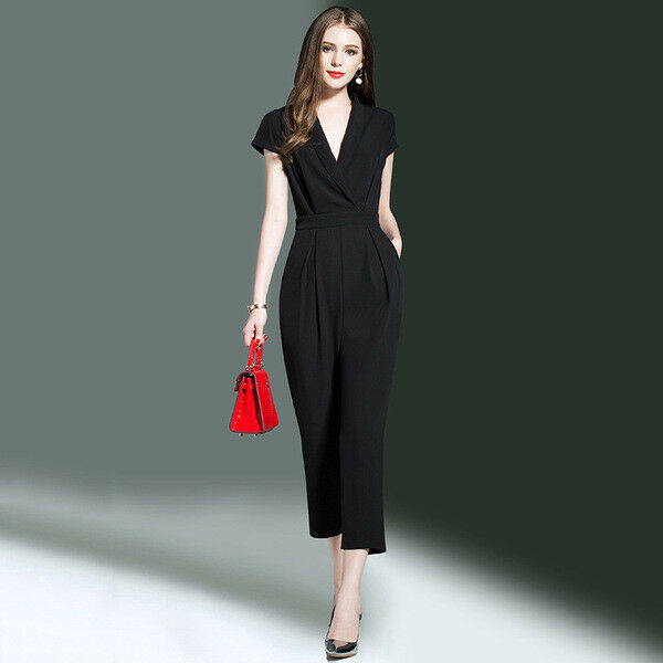 Kleid Anzug Sommer Schwarz Teilt Elegant Komfortabel Licht Hose 4465
