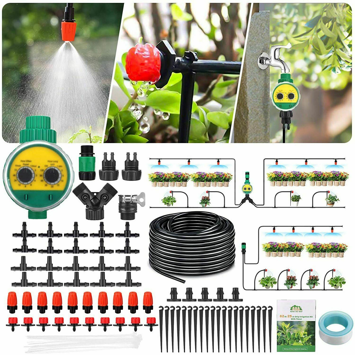 Irrigation Garden Watering Dripper Greenhouse Automatic Adjustable Nozzles Kit