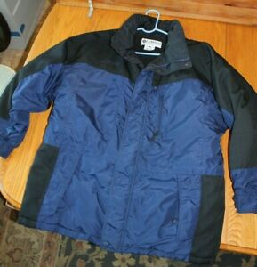 Men-039-s-Columbia-Winter-Coat-Navy-Blue-amp-black-Large-Fleece-Lined-Jacket-no-hood
