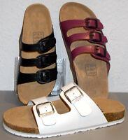 Damen Tieffußbett Comfort Leder PANTOLETTEN*37 38 39 40 41*schwarz/pink/weiß*NEU
