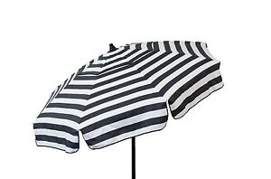 1d21d6bf13 Details about Black and White Striped Italian Beach Umbrella 6' 3 Position  Tilt Sand Shade