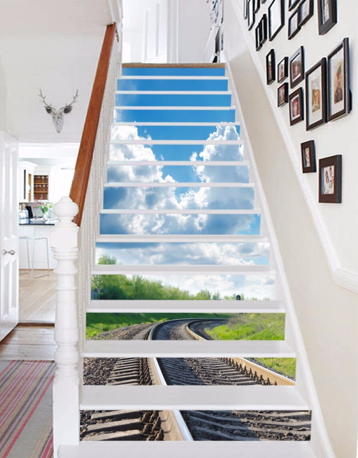 3D Train Rail 467 Risers Decoration Photo Mural Vinyl Decal Wallpaper CA