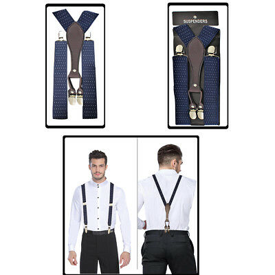 Navy Blue 35mm Wide Mens Braces Blue Plain Elastic Suspenders Y Shape Adjustable