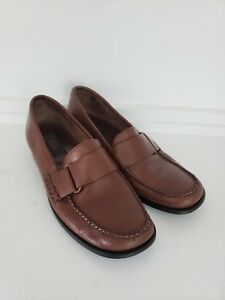 9e407ba7189 Image is loading Bass-Womens-Brown-Leather-Cecilia-Weejun-Loafers-Shoes-