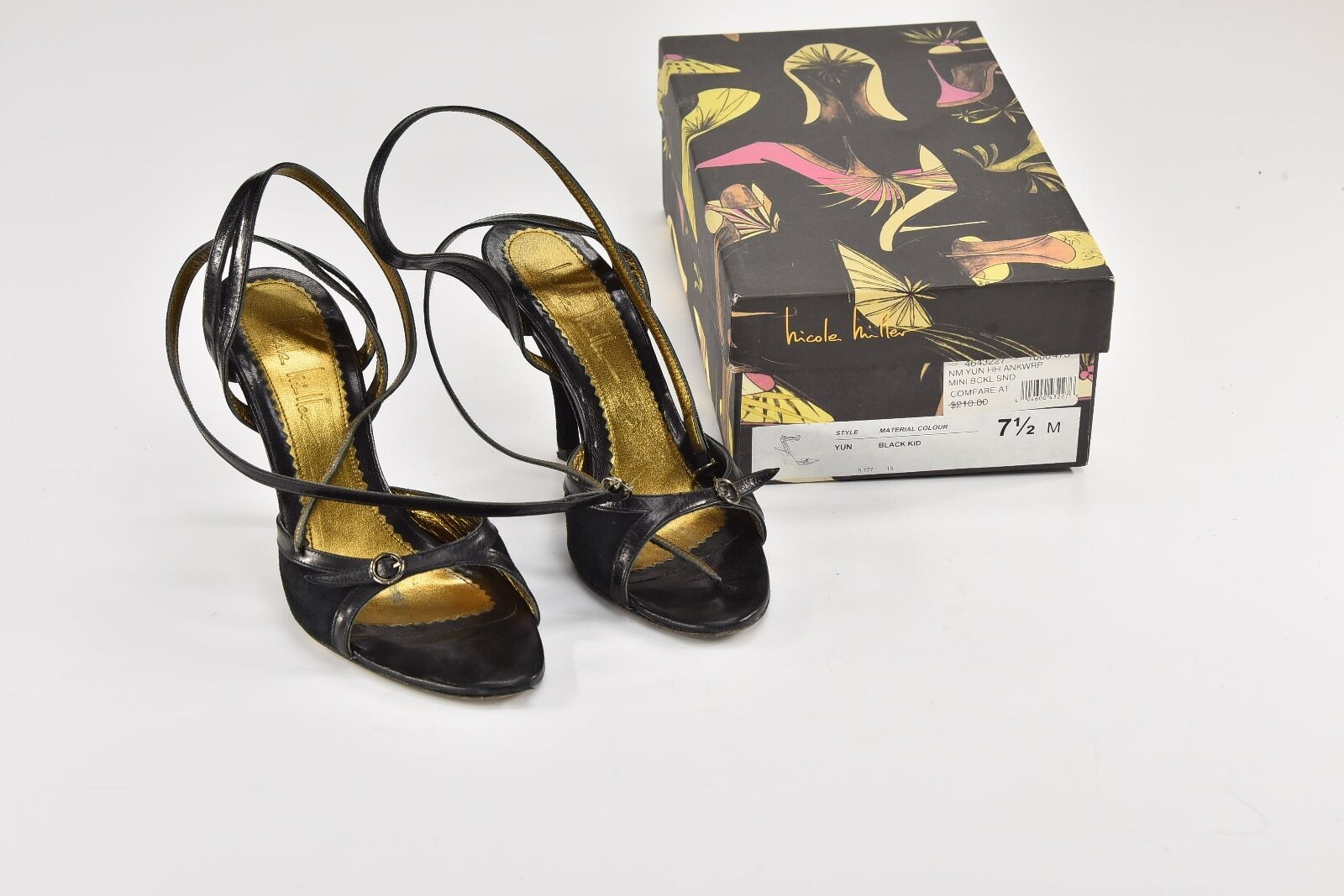 1b5e509caed Nicole Miller Black Leather Yun Strappy Sandals HEELS 7.5 M - R64 ...
