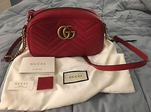 2b9f28a4de7 Authentic GG Marmont Matelassé Gucci SMALL Camera Bag in Red Leather ...