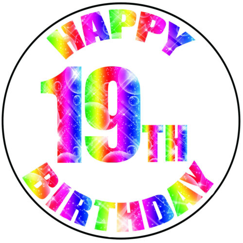 """Details about  /Happy 19th Birthday Colourful Round 8/"""" Icing Cake Topper Easy Peel Pre-cut"""