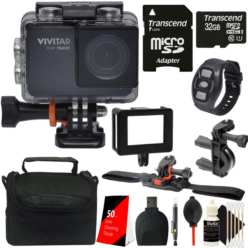 Vivitar DVR794HD Wi-Fi Waterproof Action Camera Camcorder Black with 32GB Kit 32gb action black camcorder camera dvr794hd kit vivitar waterproof with