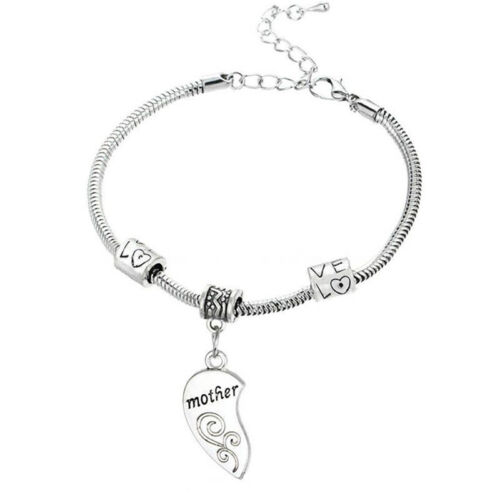 2xCharm Silver Flower Mother Daughter Love Heart Bangle Bracelet Jewelry GiftRR