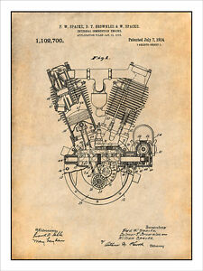 1914 spacke v twin motorcycle engine patent print art drawing poster rh ebay com