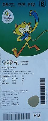 In Style; Fine Ticket M Olympic Games Rio 9/8/2016 # Handball Men's Egypt Vs Sweden # F12 Fashionable
