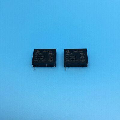 2 pcs new  Hongfa relay 12VDC HF46F-12-HS1 normally open 4 feet 5A