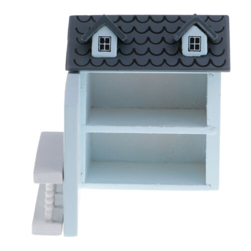 1//12 Scale Dollhouse Miniature Blue House Model Toy Decoration Accessories