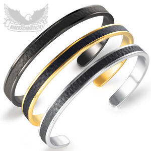 Herren Armreif silber gold schwarz Edelstahl Leder Männer Armband Biker Geschenk