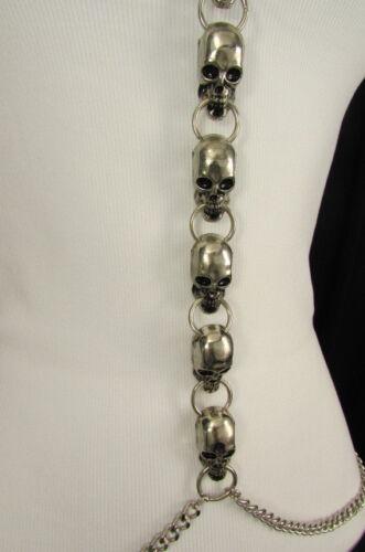 Women Silver Metal Skulls Body Chain Long Necklace Skeleton Fashion Jewelry USA